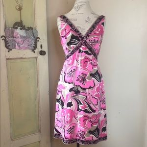 Elite Tahari  pink print dress